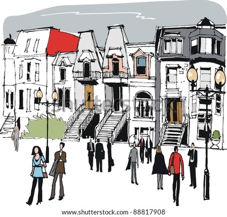 Vector illustration of old houses in Montreal, Canada