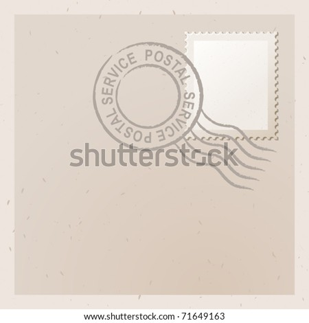 vector illustration of old letter with stamp