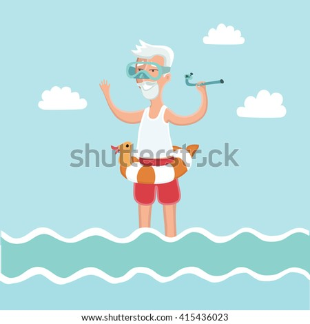 vector illustration of old man