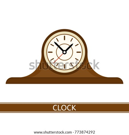 Vector illustration of old mantel clock isolated on white background.
