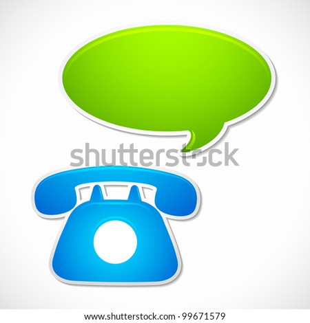 vector illustration of old rotary phone with chat bubble