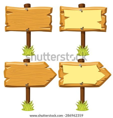 Vector illustration of old wooden signboards with and without nailed paper on them and grass. Cartoon style. Isolated on white. Eps 10.