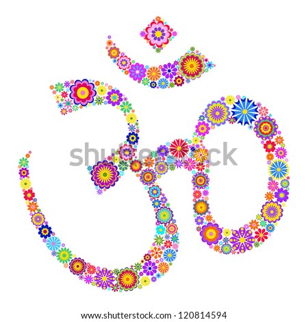 Vector illustration of Om symbol made of flowers on white background