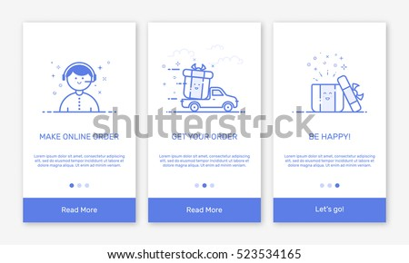 Vector Illustration of onboarding app screens and flat line web icons for e-commerce mobile apps . Modern interface UX, UI GUI screen template for mobile smart phone. Concept delivery service.