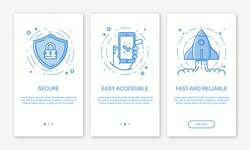 Vector Illustration of onboarding app screens and web concept banking application for mobile apps in line style. Modern blue interface UX, UI GUI screen template for smart phone or web site banners.