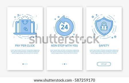 Vector Illustration of onboarding app screens and web concept online shopping application for mobile apps in line style. Blue interface UX, UI GUI screen template for smart phone or web site banners.