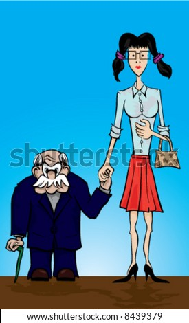 Vector illustration of one unusual couple with a old man and one young woman.