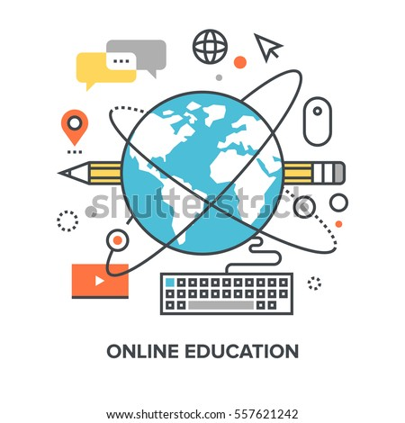 Vector illustration of online education flat line design concept