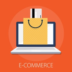 Vector illustration of online shopping & e commerce concept with