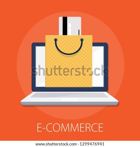 "Vector illustration of online shopping & e commerce concept with ""e-commerce"" online shopping and marketing icon."