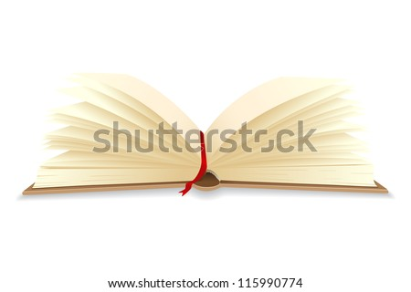 vector illustration of open book with bookmark