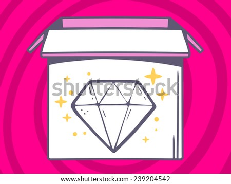 Vector illustration of open box with icon of  diamond on pink pattern background. Line art design for web, site, advertising, banner, poster, board and print.