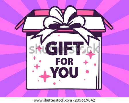 Vector illustration of open box with icon of  gift for you on purple pattern background. Line art design for web, site, advertising, banner, poster, board and print.