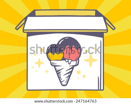 Vector illustration of open box with icon of  ice cream on yellow pattern background. Line art design for web, site, advertising, banner, poster, board and print.