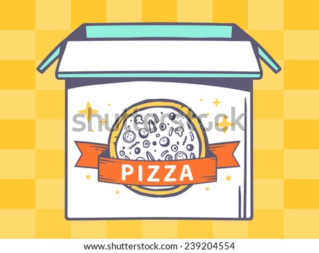 Vector illustration of open box with icon of  pizza on yellow pattern background. Line art design for web, site, advertising, banner, poster, board and print.
