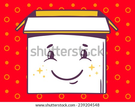Vector illustration of open box with icon of  smile on red pattern background. Line art design for web, site, advertising, banner, poster, board and print.
