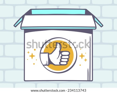 Vector illustration of open box with icon of  thumb up on grey brick pattern background. Line art design for web, site, advertising, banner, poster, board and print.