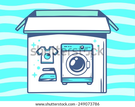 Vector illustration of open box with icon of  washing machine on blue pattern background. Line art design for web, site, advertising, banner, poster, board and print.