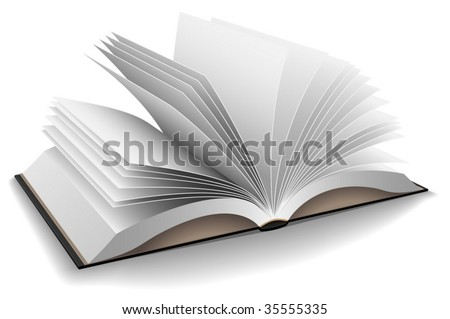 Vector illustration of opened book with hard black cover isolated on white background. - stock vector