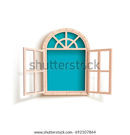 Vector illustration of opened window with blue background isolated on white.