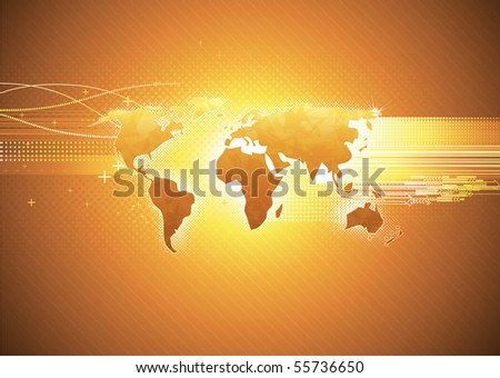 Vector illustration of orange abstract hi-tech Background with Glossy world map