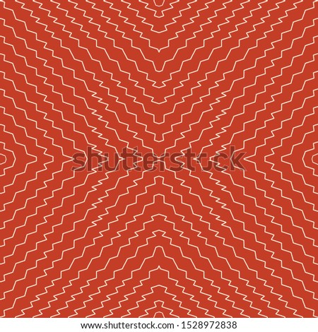 Vector illustration of orange and cream scribbled warped strtipes. Scribble texture, textile rapport. Seamless repeat pattern for gift wrap, textile, fabric, scrapbooking and fashion.