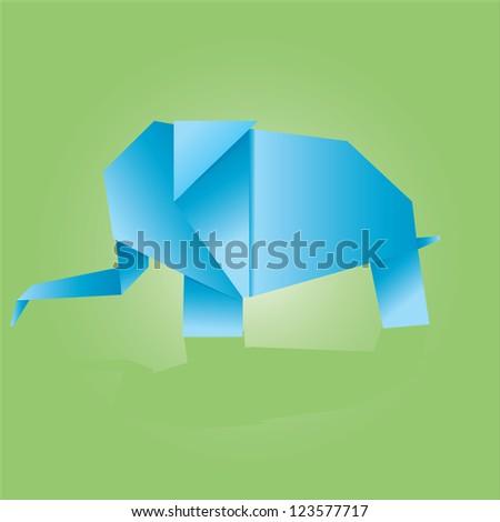 Vector illustration of origami elephant