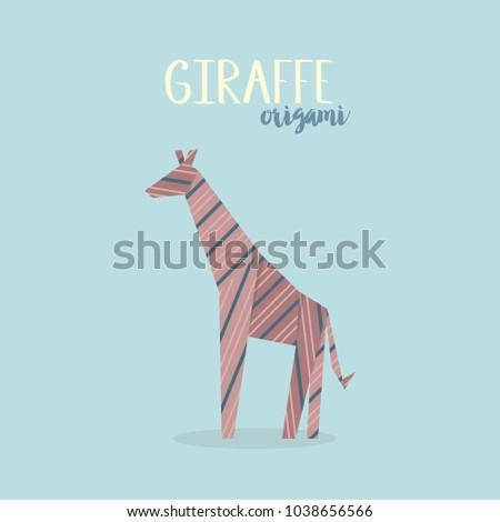 Vector Illustration Of Origami Giraffe Paper Animal