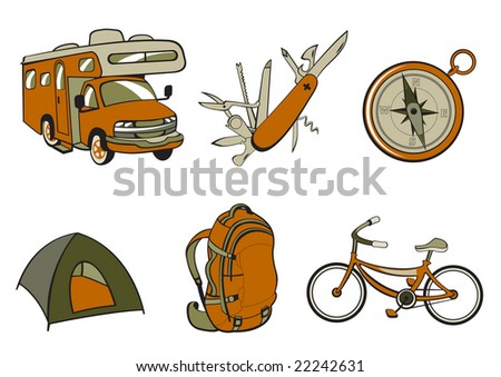 Vector illustration of Outdoor and camping icons. Includes icons of  compass, Travel Trailer, penknife, tent, rucksack and bicycle.