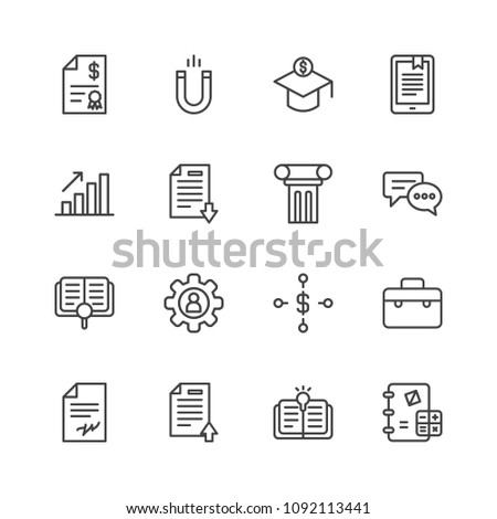 Vector illustration of outline icons for business, education on white background. Set includes business, account,  invoice, literature,  money,  work,  profile,  school modern flat and material icons.