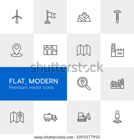 Vector illustration of outline icons for industry, location on light background. Set includes  work,  screw,  fuel,  place, transportation,  environment, road, factory modern flat and material icons.