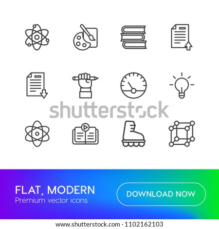 Vector illustration of outline icons for science, sports, education on white background. Set includes  innovation,  sound,  chemical,  shoe,  day,  new, audio,  artist modern flat and material icons.