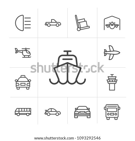 Vector illustration of outline icons for transports, airport and terminal on white background. Set includes  aviation,  public transport,  ocean,  departure,  front modern flat and material icons. #1093292546