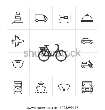 Vector illustration of outline icons for transports, airport and terminal on white background. Set includes  travel,  uniform,  airline,  urban,  sea,  truck, flight modern flat and material icons. #1093299116