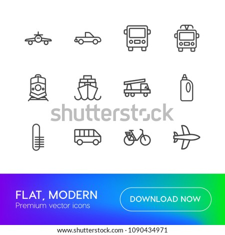 Vector illustration of outline icons for transports, industry, housekeeping on white background. Set includes delivery, detergent,  vehicle,  railway,  transportation,  modern flat and material icons. #1090434971