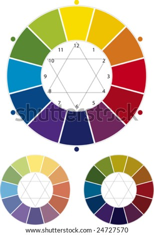Vector illustration of painter color wheel and light and dark variations.