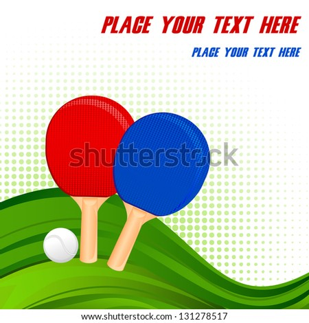 vector illustration of pair of ping-pong rackets and ball