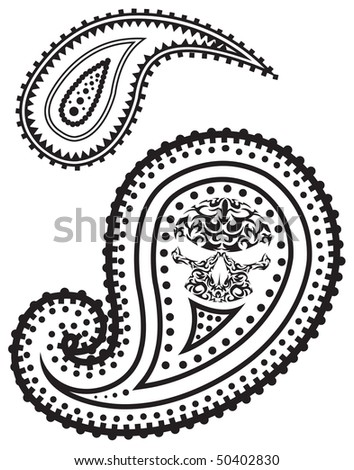 Vector illustration of paisley pattern with skull