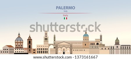 Vector illustration of Palermo city skyline on colorful gradient beautiful day sky background with flag of Italy
