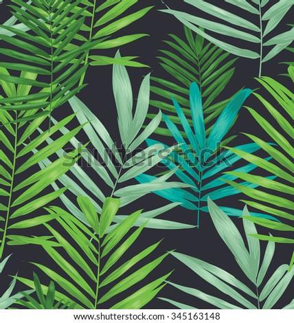 Vector Illustration of palm leaf seamless pattern