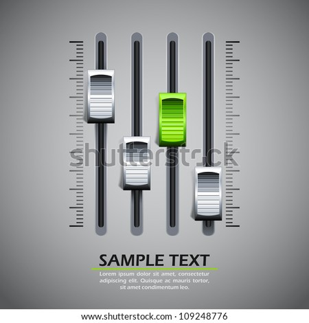 vector illustration of panel of sound mixer console