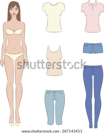 Vector illustration of paper doll with a set of casual for Paper doll template woman