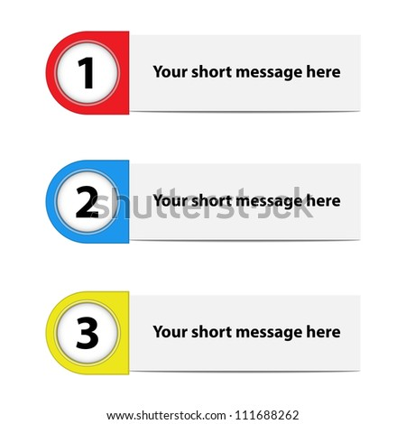 Vector illustration of paper option labels in three colors.