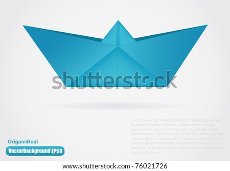 Vector illustration of paper origami boat - stock vector