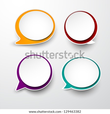 Vector illustration of paper round speech bubbles Eps10