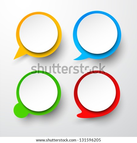 Vector illustration of paper round speech bubbles. Eps10.