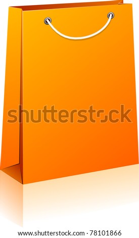 Vector illustration of paper shopping bag. No transparency. Eps8 Only.