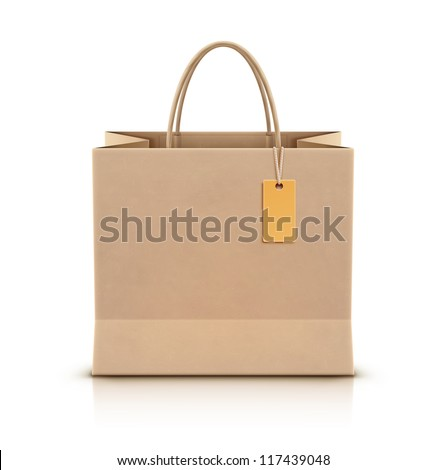 Vector illustration of paper shopping bag with paper handles and funky tag