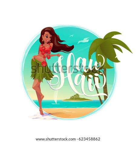 Vector illustration of paradise landscape with beautiful smiling long-haired girl wearing swimming suit, palm tree, summer beach, island, seagull, yacht, lettering text sign Hawaii into round shape