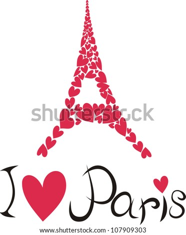 Vector illustration of Paris and eiffel tower